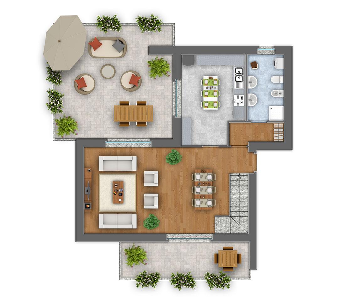 Viola Trilocale con mansarda appartamento 3